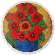 Red Poppies In Blue Vase Round Beach Towel