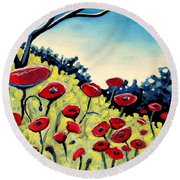 Red Poppies Under A Blue Sky Round Beach Towel