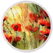 Red Poppies Watercolor Round Beach Towel