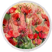Red Poppies Wearing Pink Round Beach Towel