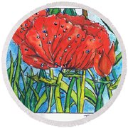 Red Poppy 1 Round Beach Towel
