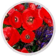 Red Poppy Cluster With Purple Lavender Round Beach Towel