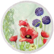 Red Poppy Purple Allium IIi - Retro Modern Patterns Round Beach Towel