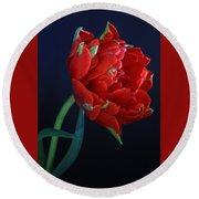 Red Princess Tulip On Blue Round Beach Towel