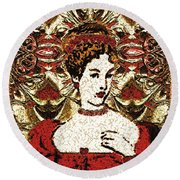 Red Queen Baroque Round Beach Towel