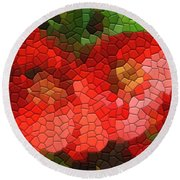 Red Quince Round Beach Towel