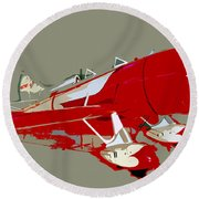 Red Racer Round Beach Towel