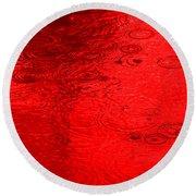 Red Rain Droplets Round Beach Towel
