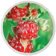 Red Raspberries Round Beach Towel
