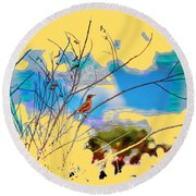 Red Red Robin 3 Round Beach Towel