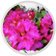 Red Rhododendron Flowers Round Beach Towel