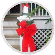 Red Ribbon On Steps Round Beach Towel