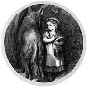 Red Riding Hood Meets Old Father Wolf Round Beach Towel