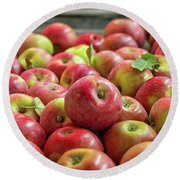 Red Ripe Apples Round Beach Towel
