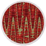 Red Ripe Pomagranite Abstract Round Beach Towel
