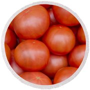 Red Ripe Tomatoes Round Beach Towel by John Trax