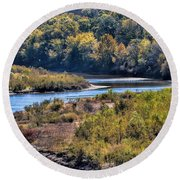 Red River Bend Round Beach Towel