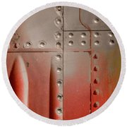Red Rivets Round Beach Towel