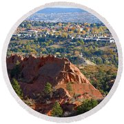 Red Rock Canyon Rock Quarry And Colorado Springs Round Beach Towel