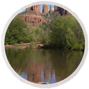 Red Rock Crossing In Sedona Round Beach Towel by Sandra Bronstein