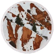 Red Rock Greenery Round Beach Towel