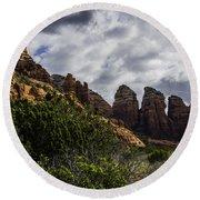 Red Rock Landscape From Sedona Arizona Round Beach Towel