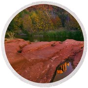 Red Rock Reflection Round Beach Towel by Mike  Dawson