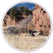 Red Rock Riders Round Beach Towel