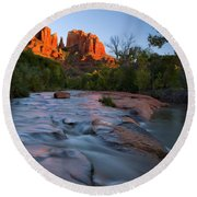 Red Rock Sunset Round Beach Towel by Mike  Dawson