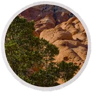 Red Rock Textures Round Beach Towel