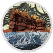 Red Rock White Ice Round Beach Towel