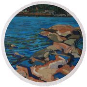 Red Rocks And Pooled Water Round Beach Towel