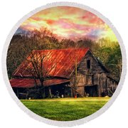 Red Roof At Sunset Round Beach Towel