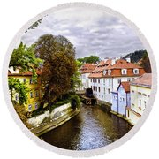 Red Roofs Of Prague - 2015 Round Beach Towel
