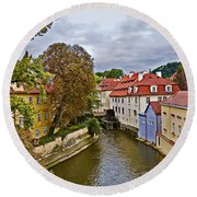 Red Roofs Of Prague Round Beach Towel