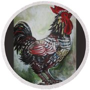 Red Rooster Round Beach Towel