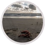 Red Rope On The Beach Round Beach Towel