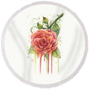 Red Rose Dripping Watercolor  Round Beach Towel