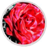 Red Rose Fractal Round Beach Towel