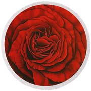 Red Rose II Round Beach Towel
