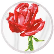 Red Rose Watercolor Painting Round Beach Towel