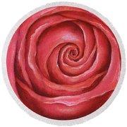 Red Rose Pastel Painting Round Beach Towel