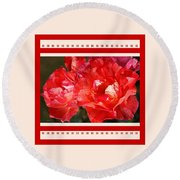 Red Rose With A Whisper Of Yellow And Design Round Beach Towel