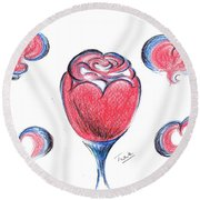 Red Rose- With Love  Round Beach Towel