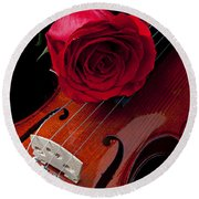 Red Rose With Violin Round Beach Towel by Garry Gay