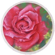 Red Rose With Yellow Lady's Mantle Round Beach Towel