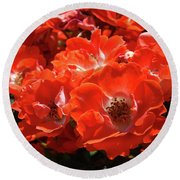 Red Roses Botanical Landscape 1 Red Rose Giclee Prints Baslee Troutman Round Beach Towel