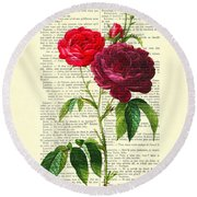 Red Roses For Valentine Round Beach Towel
