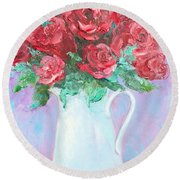 Red Roses In White Jug Round Beach Towel by Jan Matson