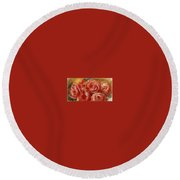 Red Roses Pierre-auguste Renoir Round Beach Towel